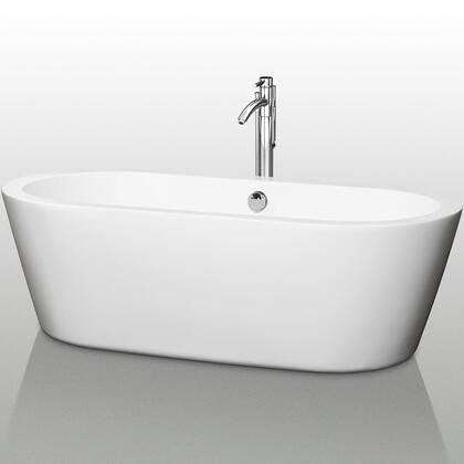 WCOBT100371 71 in. Center Drain Soaking Tub in White with Chrome