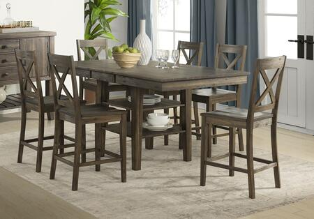 Huron Collection HURWRGT6XBS 7-Piece Dining Room Set with Gather Height Leg Table and 6x X-Back Barstools in Weathered Russet
