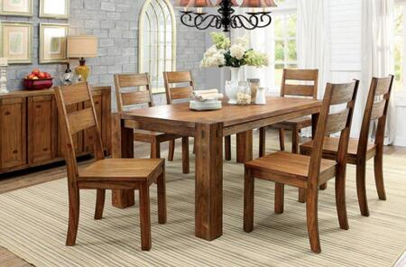Frontier Collection CM3603T6SCSV 8-Piece Dining Room Set with Rectangular Table  6 Side Chairs and Server in Dark Oak