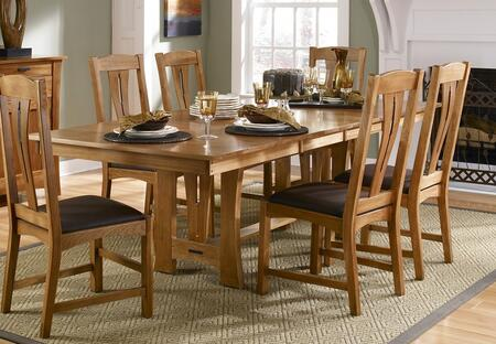 CATAM6300 Cattail Bungalow Trestle Table with Two 18 inch  Self-storing Leaves  Polyurethane Finish and Equalizing Cable Glide in Amber