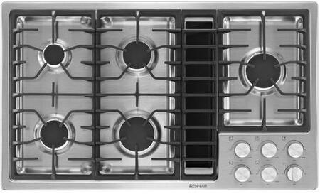 JGD3536BS 36 inch  Downdraft Gas Cooktop with 5 Sealed Burners  3 Speed Fan  425 CFM Blower  Knob Controls  and Flame-Sensing Re-ignition  in Stainless