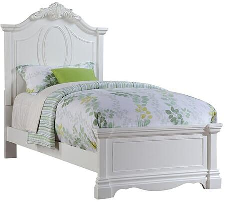 Estrella Collection 30235F Full Size Bed with Crown Carved Headboard  Low Profile Footboard and Pine Wood Construction in White