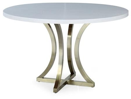 ACD-21403-04-CW Iris Dining Table with Chalk White and Ash Top and Brushed Champagne Stainless Steel