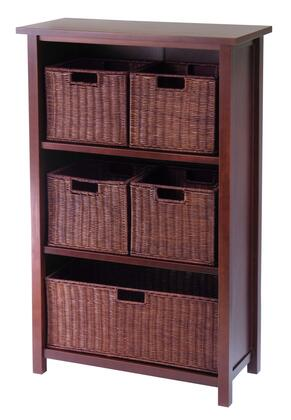 94313 Milan 6pc Cabinet/Shelf and Baskets; Shelf  One Basket  4 Small Baskets in Antique