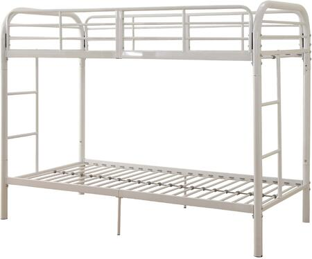 Thomas Collection 02178WH Twin Over Twin Bunk Bed with Built-in Side Ladders  Slat System Included  Full Length Guardrail and Metal Tube Frame in White