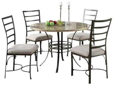 Val Collection 70057BK 5 PC Dining Set with Black Faux Marble Top Table  4 Fabric Cushion Side Chairs and Metal Construction in Antique Bronze