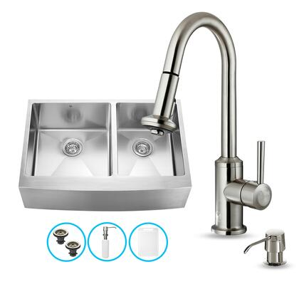 "VG15098 33"" Stainless Steel Kitchen Sink Set with 16.75"" Stainless Steel Faucet  Pull-Out Spray Head  Faucet  2 Strainers  Embossed VIGO Cutting Board and Soap"