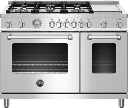 Bertazzoni MAST486GGASXT Master Series 48 Inch Freestanding Gas Range Range with 6 Brass Burners, Electric Griddle, Convection Oven, Temperature Gauge