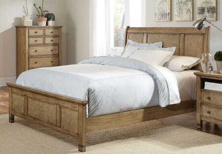 Kingston Isle P196-80-81-83 Queen Sized Sleigh Bed with Headboard  Footboard and Side Rails in Sand