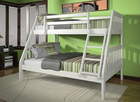 Ryo Collection 37120WH Twin Over Full Size Bunk Bed with Reversible Front Ladder  Easy Access Guardrail  Slats System Included and Brazil Taeda Pine Wood