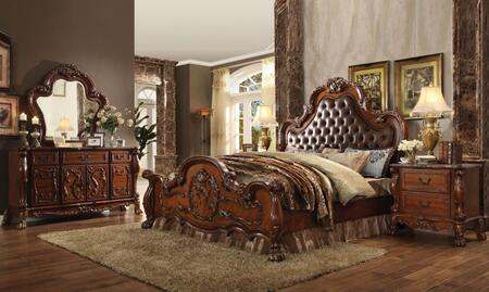 Dresden Collection 23134CKDM2N 5 PC Bedroom Set with California King Size Bed + Dresser + Mirror + 2 Nightstands in Cherry Oak