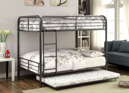 Brocket Collection CM-BK1035F-GM-BED-TRUNDLE Full Size Bunk Bed with Trundle  Full Length Guardrails  Detachable Bunk Design  Attached Ladder and Full Metal