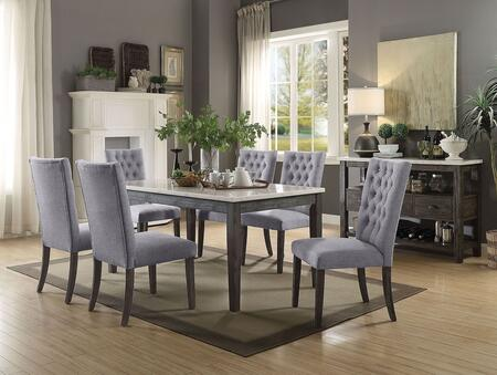Merel Collection 701656SSET 8 PC Dining Room Set with White Marble Top Dining Table  Server and 6 Grey Fabric Upholstered Side Chairs in Grey Oak