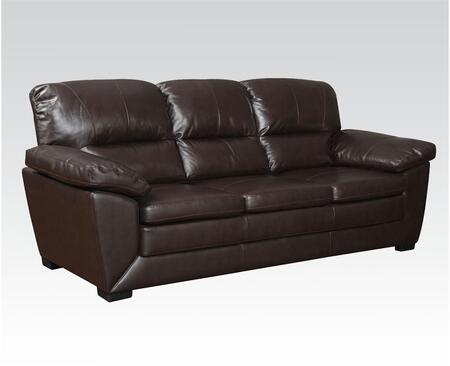 Wayman Collection 51220 Sofa with Split Back Cushion  Pillow Top Arms and Top Grain Leather Match in Dark Brown