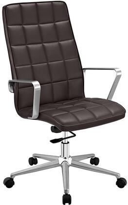 Tile Collection EEI-2126-BRN Highback Office Chair with Adjustable Height  Swivel Function  Dual-Wheel Nylon Casters  Brushed Aluminum Armrests  Powder Coated