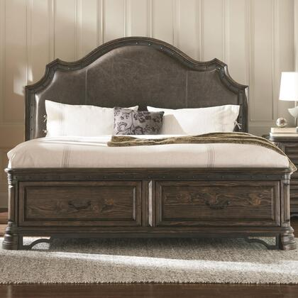 Carlsbad Collection 204040Q Queen Size Panel Bed with 2 Storage Drawers  Padded Headboard  Distressed Detailing  Solid Wood and Pine Wood Veneer in Vintage