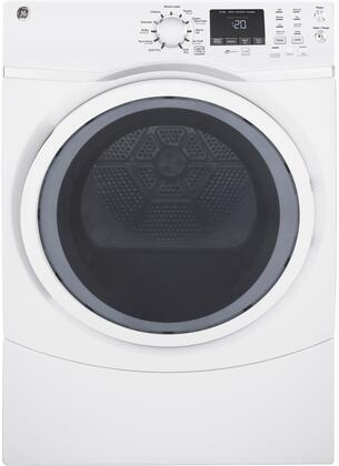 GE White GFD45ESSMWW 27 Inch Electric Dryer with 7.5 cu. ft. Capacity, 13 Dry Cycles, 4 Temperature Settings, Steam Cycle, Steam Refresh, Sanitize Cycle, HE SensorDry, LED Light, Wrinkle Prevent Option in White
