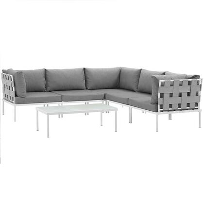Harmony Collection EEI-2627-WHI-GRY-SET 6-Piece Outdoor Patio Aluminum Sectional Sofa Set with Coffee Table  3 Corner Sofas and 2 Armless Chairs in White and