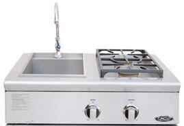 BFG30BSN Liberty Series 30 Built-In Natural Gas Dual Side Burner/Sink Unit with 2-17 000 BTU Burners  and Stainless Steel Covers: Stainless