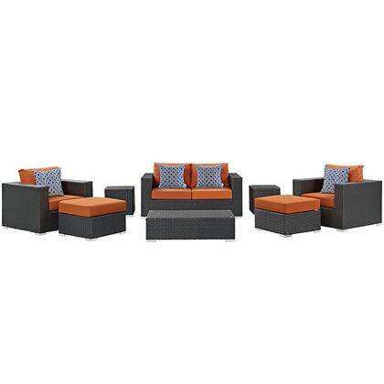 Sojourn Collection EEI-2376-CHC-TUS-SET 8-Piece Outdoor Patio Sunbrella Sectional Set with Coffee Table  Loveseat  2 Armchairs  2 Ottomans and 2 Side Tables in