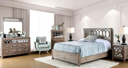 Zaragoza Collection CM7585CKBEDSET 6 PC Bedroom Set with California King Size Panel Bed + Dresser + Mirror + Chest + 2 Nightstands in Rustic Natural Tone