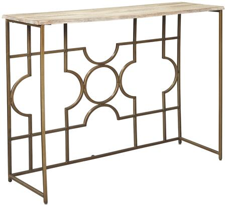 """Roelsen_Collection_A4000198_39.13""""_Console_Sofa_Table_with_Rectangular_Shape__Wood_Top_and_Metal_Base_in_Gold"""