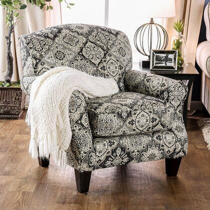 Bernadette SM8200-CH-FL Floral Accent Chair with Solid Wood Tapered Legs  Piped Stitching and Fabric Upholstery in
