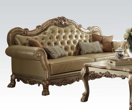 Dresden Collection 53161 61 inch  Loveseat with 3 Pillows Included  Loose Seat Cushions  Bone PU Leather UpholAspen and Poplar Wood Frame in Gold Patina
