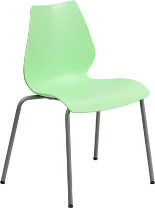 RUT-288-GREEN-GG HERCULES Series 770 lb. Capacity Green Stack Chair with Lumbar Support and Silver
