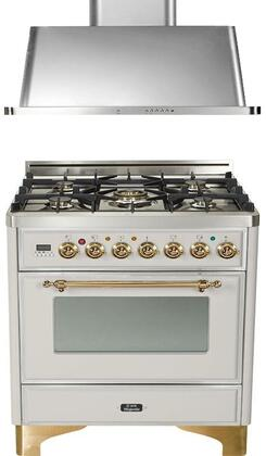 "2-Piece Stainless Steel Kitchen Package with UM76DMPI 30"""" Freestanding Dual Fuel Range (Brass Trim  5 Burners  Timer) and UAM76I 30"""" Wall Mount Range"" 719934"