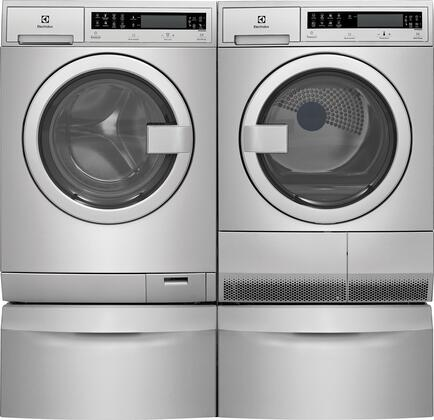Stainless Steel Front Load Compact Laundry Pair with EFLS210TIS 24 inch  Washer  EFDE210TIS 24 inch  Electric Dryer and 2 EPWD210TIS