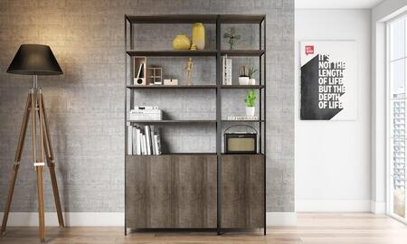 52783WT 2-Pieces Furniture Set with Quadra Bookcase + Narrow Bookcase  in Terrarum