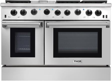 Thor Kitchen 48 Stainless Steel Gas Range Black Porcelain Drip Pan with Double Oven Automatic Re-ignition Safety LRG4801U