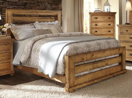 Willow P608-60-61-78 Queen Slat Bed with Headboard  Footboard and Side Rails in Distressed