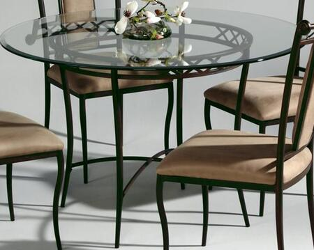 0724-DT Round Dining Table with Glass Top and Wrought Iron