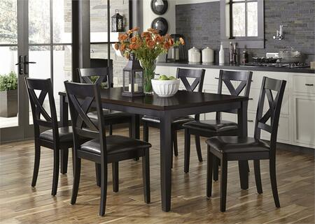 Thornton II Collection 464-CD-7RLS 7-Piece Dining Room Set with Rectangular Dining Table and 6 Side Chairs in Black Finish with Brown