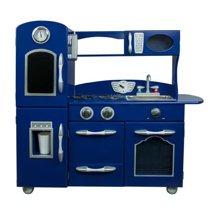 TD11414B Retro Wooden Play Kitchen with Refrigerator  Freezer  Oven and Dishwasher - Navy Blue