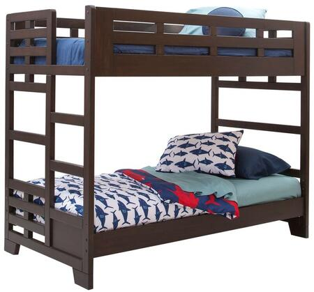 Billings 1840-33BNK Twin over Twin Bunk Bed with Tenon and Mortis Construction  Built in Ladder and Indonesian Hardwoods in Dark