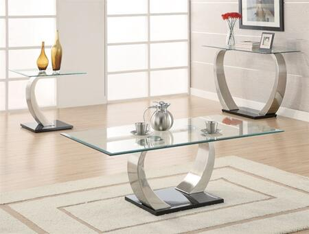 Shearwater 701238CES 3 PC Living Room Table Set with Coffee Table + Sofa Table + End Table in Silver