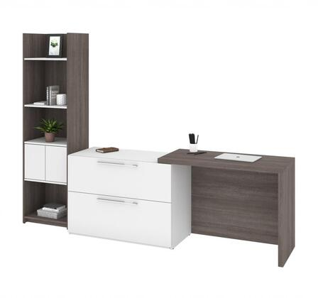 16855-47 Small Space 2-Piece Sliding Computer Desk and 20-inch Storage Tower Set in Bark Gray and