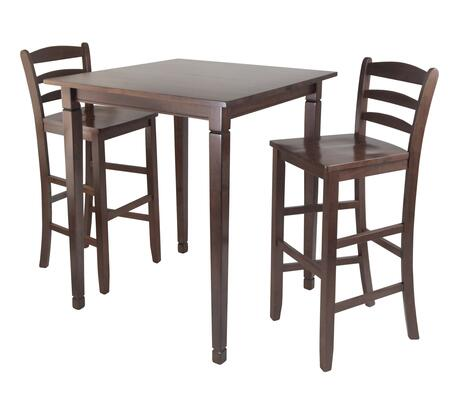 94369 3-Pc Kingsgate High/Pub Dining Table with 2 Ladder Bar Stool in Antique Walnut