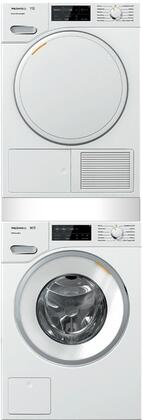 White Stacked Front Load Laundry Pair with WWF060WCS 24 inch  Front Load Washer  TWF160WP 24 inch  Electric Dryer  and WTV512 Stacking Kit