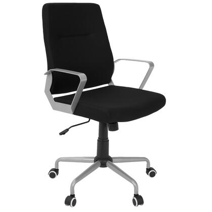 OFC-ZIP GY+BK Zip Contemporary Office Chair in Black Fabric with Silver