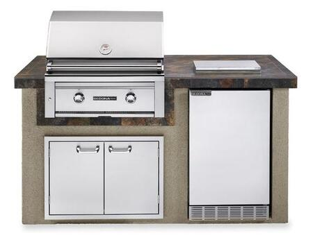 L1500GNG Sedona Deluxe Series Outdoor Kitchen Island Package with Gas Grill  Sedona Outdoor-Rated Refrigerator  Single Side Burner and Double Doors in Falcon