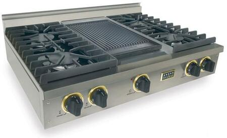 TPN-037-7S 36 inch  Sealed Burner Pro-Style LP Gas Rangetop With 4 Sealed Ultra High-Low Burners  Double Sided Grill/Griddle  Electronic Ignition  120 Volts  In
