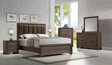 Cyrille Collection 25847EKSET 6 PC Bedroom Set with King Size Bed + Dresser + Mirror + Chest + 2 Nigtstands in Walnut