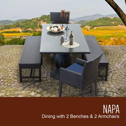 NAPA-RECTANGLE-KIT-2DC2DB-C-NAVY Napa Rectangular Outdoor Patio Dining Table with 2 Chairs w/ Arms and 2 Benches with 2 Covers: Wheat and