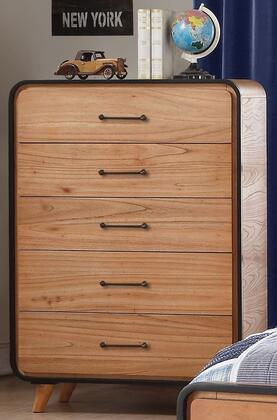 Carla Collection 30766 36 inch  Chest with 5 Drawers  Metal Hardware  Wooden Splayed Leg  Medium-Density Fiberboard