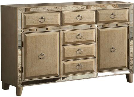 Voeville Collection 61004 60 inch  Server with 6 Drawers  2 Doors  Mirror Trim Insert  Tapered Legs  Metal Hardware and Rubberwood Cosntruction in Antique Gold
