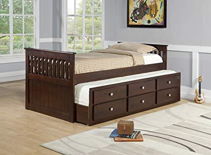 303TCP Twin Mission Captains Bed with Full Trundle  3 Drawers and Silver Knobs in Cappuccino